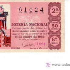 Lotería Nacional: DÉCIMO DE 15 DE ENERO DE 1966. NÚMERO 61024. SORTEO 2. Lote 6022833