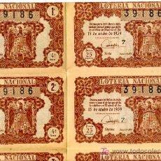 Lotería Nacional: LOTERIA , NUMERO COMPLETO , 10 DECIMOS , 15 DE OCTUBRE DE 1959 ,LO25. Lote 8149228