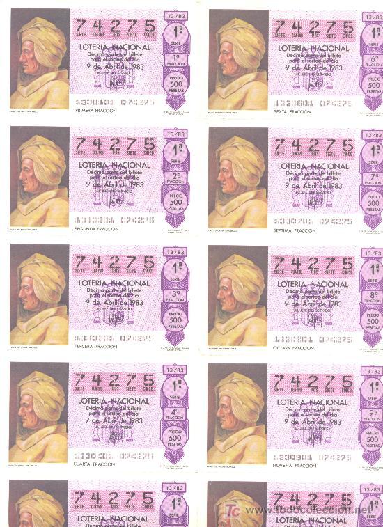 BILLETE LOTERIA NACIONAL 1983 (Coleccionismo - Lotería Nacional)