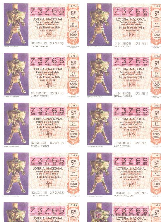 BILLETE LOTERIA NACIONAL 1984 (Coleccionismo - Lotería Nacional)
