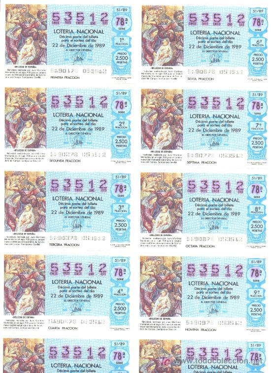 BILLETE LOTERIA NACIONAL 1989 (Coleccionismo - Lotería Nacional)