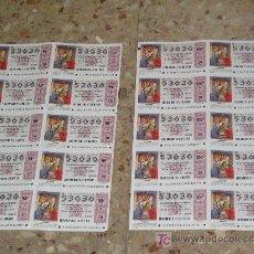 Lotería Nacional: **LOTE DE 2 HOJAS DE LOTERIA NAVIDAD,---20 DECIMOS SIN CORTAR---SERIE 99 Y 100.AÑO 2003**. Lote 6783846