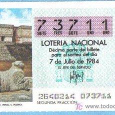 Lotería Nacional: UN DECIMO DEL Nº 73711 PARA EL 7/07/1984. PALACIO GOBERNADOR. UXMAL. C. TOLTECA (G1). Lote 7001303