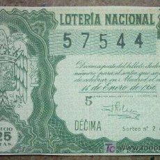 Lotería Nacional: DECIMO DE LOTERIA NACIONAL 14 DE ENERO DE 1956 Nº 57544. Lote 24247367