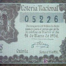 Lotería Nacional: DECIMO DE LOTERIA NACIONAL AÑO 1956. Lote 24288665