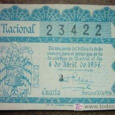 Lotería Nacional: DECIMO DE LOTERIA NACIONAL AÑO 1956. Lote 24288668