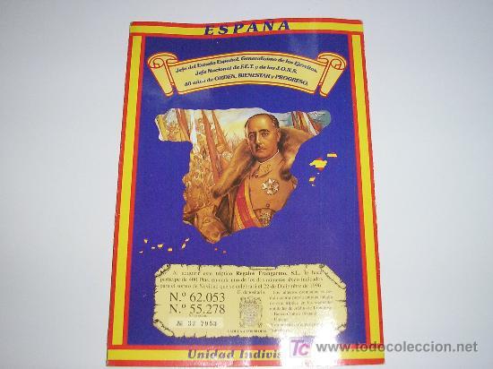 TRIPTICO DE 400 PESETAS PARA EL SORTEO DE NAVIDAD DEL 22 DE DICIEMBRE 1996 - FRANCO (Coleccionismo - Lotería Nacional)