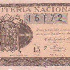 Lotería Nacional: LOTERIA NACIONAL DECIMO CON FECHA 16-8- 1956. Lote 8289815