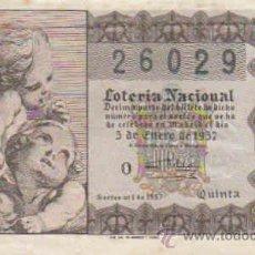 Lotería Nacional: LOTERIA NACIONAL DECIMO CON FECHA 5-1-1957. Lote 8289856