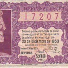 Lotería Nacional: LOTERIA NACIONAL DECIMO CON FECHA 22-12-1953. Lote 8290089