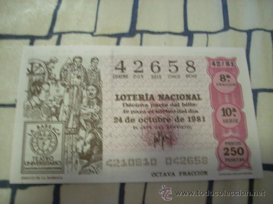 LOTERÍA NACIONAL. 24 DE OCTUBRE DE 1981. (Coleccionismo - Lotería Nacional)
