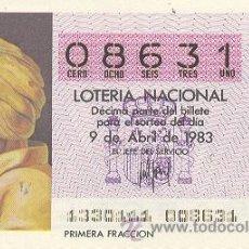 Lotería Nacional: 9-83-13. DECIMO LOTERIA SORTEO 13 DE 1983. Lote 8489100
