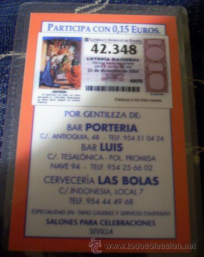 PARTICIPACIÓN DE LOTERÍA DE NAVIDAD DE 2003. PLASTIFICADO. CALENDARIO DE 2004 POR DETRÁS. (Coleccionismo - Lotería Nacional)