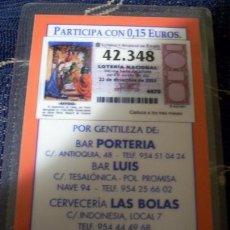 Lotería Nacional: PARTICIPACIÓN DE LOTERÍA DE NAVIDAD DE 2003. PLASTIFICADO. CALENDARIO DE 2004 POR DETRÁS.. Lote 8524872