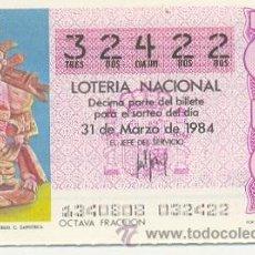 Lotería Nacional: 9-84-13. DECIMO SORTEO 13 DE 1984. URNA DE ANCIANO.. Lote 8754036