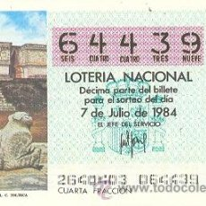 Lotería Nacional: 9-84-26. LOTERIA NACIONAL SORTEO 26 DE 1984. Lote 9099985