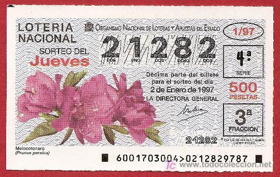 1997 AÑO COMPTO. LOTERIA NACIONAL. CON JUEVES Y SÁBADOS SUMINISTRO DÉCIMOS SUELTOS SEGÚN EXISTENCIA (Coleccionismo - Lotería Nacional)