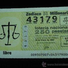 Lotería Nacional: LOTERIA DEL ZODIACO SORTEO 9 AÑO 93. Lote 9651811