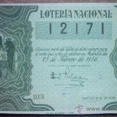 Lotería Nacional: DECIMO DE LOTERIA NACIONAL DEL AÑO 1956 Nº 12171. Lote 23188327