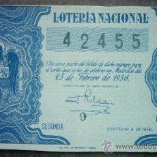 Lotería Nacional: DECIMO DE LOTERIA NACIONAL DEL AÑO 1956 Nº 42455. Lote 23188304