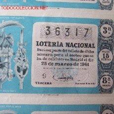 Lotería Nacional: BILLETE DE LOTERÍA NACIONAL DEL AÑO 1961. Lote 27291531