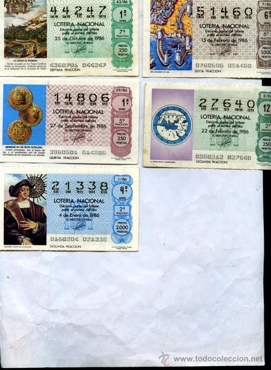 5 DECIMOS DIFERENTES LOTERÍA NACIONAL 1986, MOTIVOS EL DESCUBRIMIENTO DE AMERICA, (Coleccionismo - Lotería Nacional)