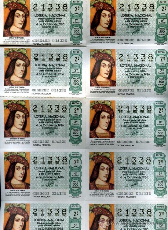 10 DECIMOS IGUALES LOTERÍA NACIONAL, HOJA COMPLETA 4 DE OCTUBRE 1986, 2ª SERIE, 2ª FRACCION, (Coleccionismo - Lotería Nacional)