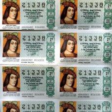 Lotería Nacional: 10 DECIMOS IGUALES LOTERÍA NACIONAL, HOJA COMPLETA 4 DE OCTUBRE 1986, 2ª SERIE, 2ª FRACCION, . Lote 20498863