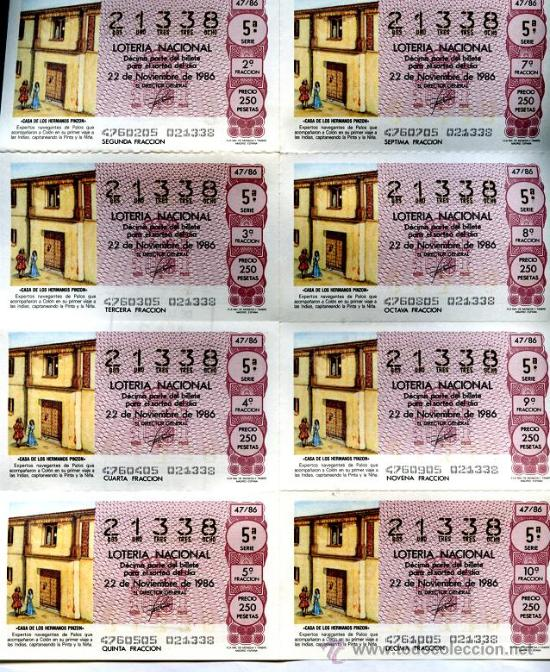 8 DECIMOS IGUALES LOTERÍA NACIONAL, 22 DE NOVIEMBRE 1986, 5ª SERIE, 2ª FRACCION, (Coleccionismo - Lotería Nacional)
