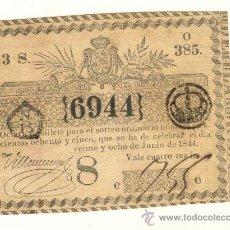 Lotería Nacional: AÑO 1844 EXCELENTE BILLETE DE LOTERÍA DE LA ISLA DE CUBA ESPAÑOLA VALOR 4 REALES. Lote 25518555