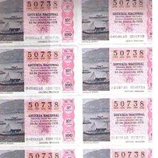 Lotería Nacional: LOTERÍA. SERIE 10ª 50738. 23 JUN.. 1978. Lote 11114162