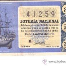 Lotería Nacional: DECIMO DEL 16 DE ENERO DE 1961. SORTEO 2º. ADMON 1 DE SALAMANCA. Lote 11780465
