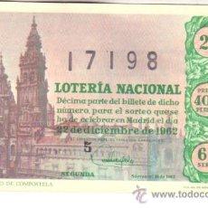Lotería Nacional: DÉCIMO DEL 22 DE DICIEMBRE DE 1962. SORTEO 36. ADMÓN 49 BARCELONA. Lote 11789771