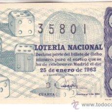 Lotería Nacional: DÉCIMO DEL 25 DE ENERO DE 1963. SORTEO 3. ADMÓN 6 BARCELONA. Lote 11791509