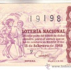 Lotería Nacional: DÉCIMO DEL 15 DE FEBRERO DE 1963. SORTEO 5º. ADMÓN 23 BARCELONA. Lote 11791635
