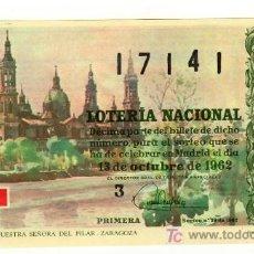 Lotería Nacional: DÉCIMO LOTERIA NACIONAL SORTEO Nº29 DE 1962.1ª 2ª SERIE.ADMIN. Nº49 VALDES BARCELONA. Lote 12191451