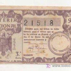 Lotería Nacional: LOTERIA NACIONAL. Nº 21518. 1944. . Lote 13514684