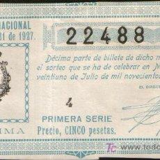 Lotteria Nationale Spagnola: DECIMO DE LOTERIA SORTEO 21 DE 1927 CONSERVACION R (1274). Lote 27220525
