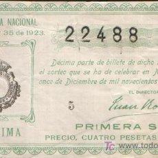 Lotería Nacional: DECIMO DE LOTERIA SORTEO 35 DE 1923 CONSERVACION B+ (1308). Lote 27338451
