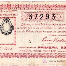 Lotería Nacional: DECIMO DE LOTERIA SORTEO 4 DE 1923 REPARADO CONSERVACION R (2468). Lote 27632012