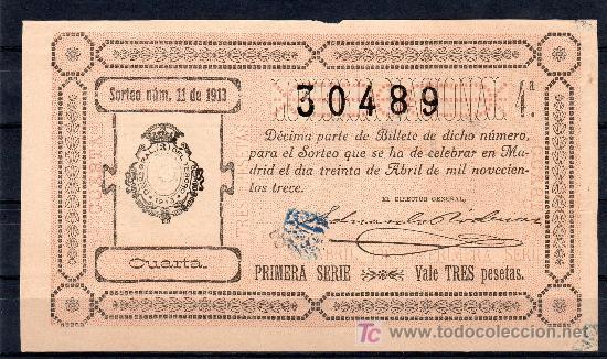 DECIMO DE LOTERIA SORTEO 11 DE 1913 REPARADO CONSERVACION R (2580) (Coleccionismo - Lotería Nacional)