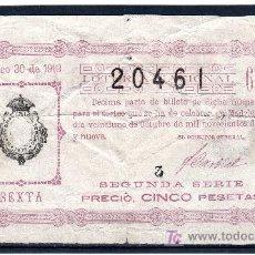 Lotería Nacional: DECIMO DE LOTERIA SORTEO 30 DE 1919 ROTURAS CONSERVACION R- (2626). Lote 25975852
