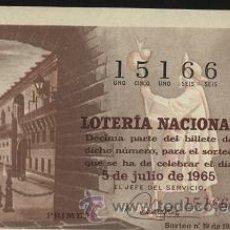 Lotería Nacional: LOTERÍA NACIONAL 1965 SORTEO 19 - CAMINO DE SANTIAGO ( HOSPITAL REAL, SANTIAGO DE COMPOSTELA ). Lote 14455048
