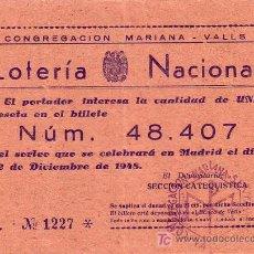 Lotería Nacional: CONGREGACION MARIANA - VALLS (TARRAGONA) - PARTICIPACION LOTERIA NACIONAL AÑO 1948. Lote 18835063