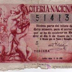 Lotería Nacional: LOTERIA NACIONAL - 5 ENERO 1949 - SORTEO NÚMERO 1 DE 1949. Lote 26399334