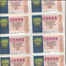 Lotería Nacional: POST 357 -PLIEGO LOTERÍA 13 OCTUBRE 1984 - MÁSCARA DE PIEDRA Y TURQUESAS - 75469 - ADMN 3 - TOLEDO. Lote 15203870