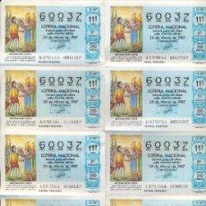 Lotería Nacional: POST 352 -PLIEGO LOTERÍA 60037 - MOZTEZUMA RECIBE A CORTÉS - 28 MARZO 1987 - ADM 5 - TOLEDO. Lote 15204208