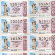 Lotería Nacional: POST 349 - PLIEGO CORTADO DE LOTERÍA 50507 - MONUMENTO A COLÓN - 17 ENERO 1987 - AMN 3 TOLEDO. Lote 15204467