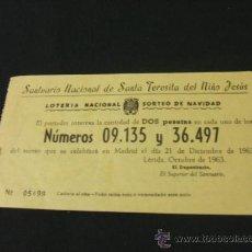 Lotería Nacional: PARTICIPACION LOTERIA NACIONAL - SORTEO DE NAVIDAD - AÑO 1963. Lote 15515064
