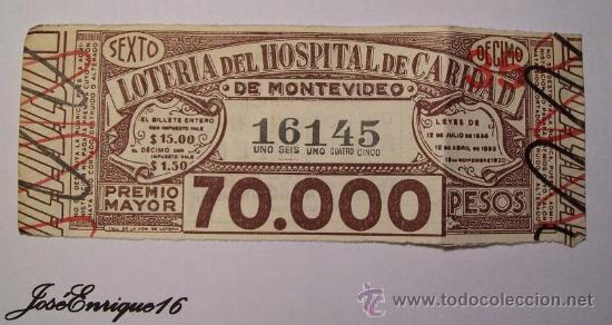 1946 AGOSTO - LOTERIA URUGUAYA - BILLETE NUMERO 16145 (DECIMO PARTICIPACION SEXTO) (Coleccionismo - Lotería Nacional)